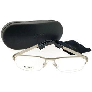 0433-E80-55 Men Silver Frame Clear Lens Eyeglasses